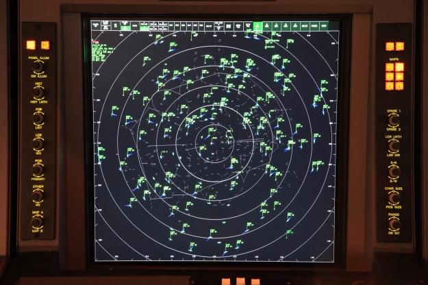 Lo schermo radar di un settore di spazio aereo americano (foto Raitheon).