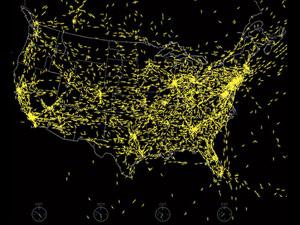 Le rotte dell'aviazione commerciale sugli Usa (rappresentazione).